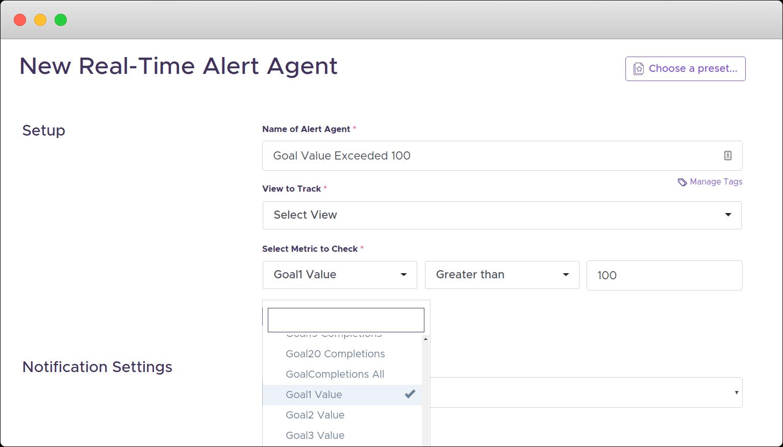 google analytics realtime alert goal value