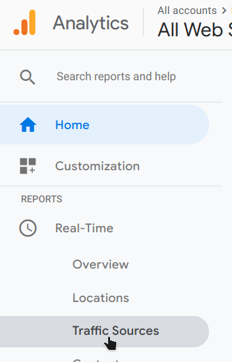 google analytics realtime traffic sources