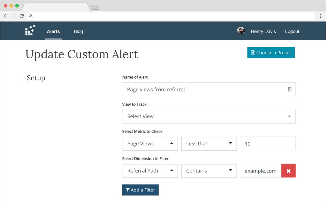custom alert setup