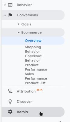 google analytics admin option