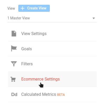 google analytics ecommerce settings option