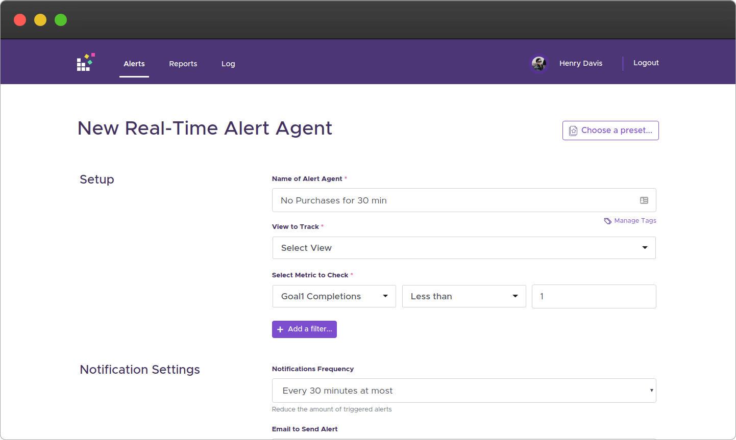 Real-Time alert no purchase